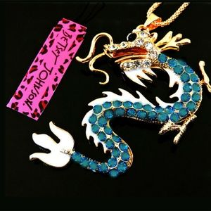 Betsey Johnson Teal Dragon Pendant/ Necklace-NWT
